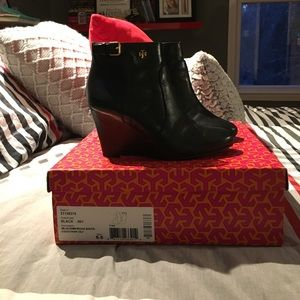 Tory Burch wedge boots/ excellent condition
